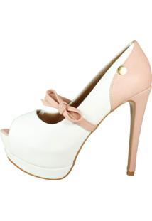 Peep Toe Week Shoes Salto Alto Com Laço Branco E Rosê