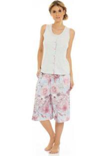 Pijama Pantacourt Feminino Rosa Laibel