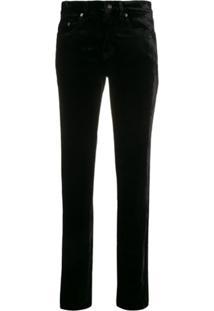 Saint Laurent Calça Jeans Cintura Alta De Veludo - Preto