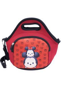 Bolsa Térmica Minas De Presentes Mickey & Minnie Tsum Tsum Vermelha