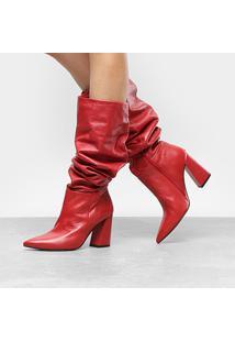 f69617bb3c ... Bota Couro Over The Knee Dumond Slouch Feminina - Feminino-Vermelho