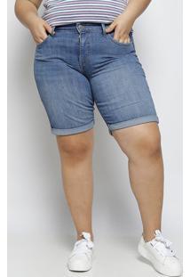 Bermuda Jeans Com Bolsos - Azullevis