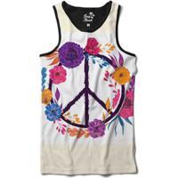 Camiseta Regata Long Beach Simbolo Da Paz Com Flores Sublimada - Masculino 9ef77f2b7b5