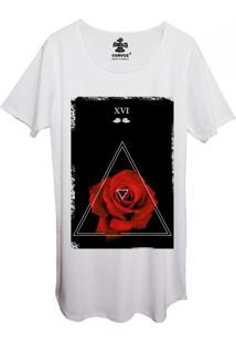 Camiseta Longline Estampada Corvuz Red Rose Branca