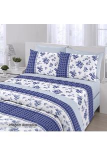 Jogo De Cama Royal Queen Size- Azul Escuro & Branco-Santista