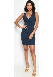 Vestido Com Franzidos & Recortes- Azul Escuro- Max Gmax Glamm