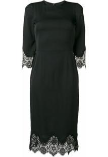 Dolce & Gabbana Vestido Com Acabamento De Renda - Preto