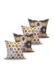 Conjunto De Capas Para Almofada Com 4 Peças Persa Turtle Preto E Amarelo 60X60 Cm