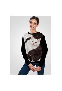 Blusa Moletom Ramavi Flanelado Gatos Com Bolso