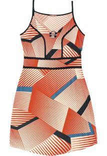 Vestido Curto Estampa Geométrica Laranja