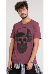 Camiseta Masculina Com Estampa De Caveira Manga Curta Gola Careca Vinho