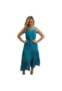 Vestido Midi Tecido Trabalhado Azul