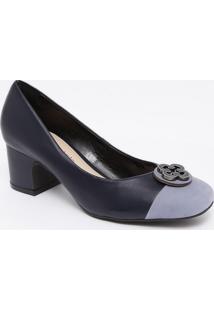 Sapato Tradicional Em Couro Com Recorte - Azul Marinho &Capodarte