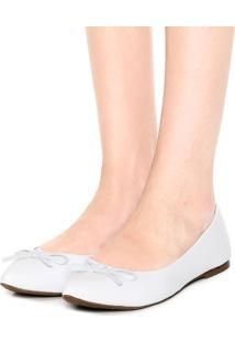 Sapatilha Dafiti Shoes Bico Fino Laço Branca