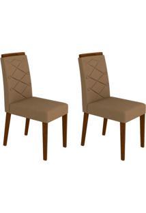 Conjunto Com 2 Cadeiras Caroline Castanho E Marrom Médio