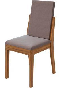 Cadeira Lira Velvet Rosê Rovere Naturale