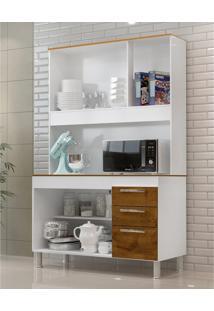 Cozinha Compacta Gemeos 1,14M 5 Portas 3 Gav. Branco Castanho