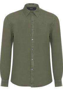 Camisa Masculina Linen Washed Classic French - Verde
