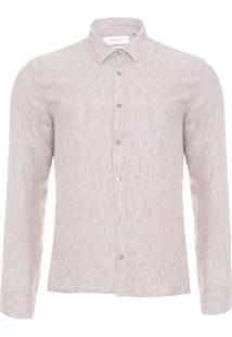 Camisa Masculina Regular Cannes Linen - Bege