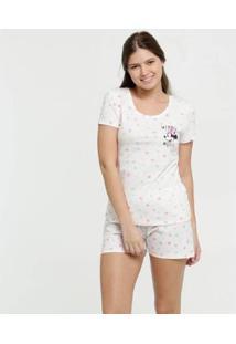 Pijama Estampa Minnie Manga Curta Disney Feminino - Feminino-Branco