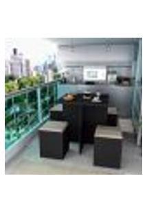 Conjunto Mesa E Cadeiras 4 Lugares Quadrada - Preto/Bege