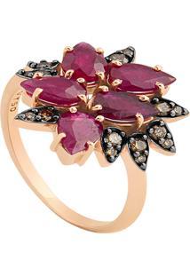 e0ba6b43b2c ... Anel Ouro Rosé Diamante Brown E Rubi