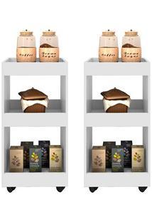 Kit 2 Armários Multiuso Para Cozinha Seul Com Rodízios L03 Branco - Mp