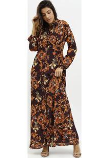 Vestido Longo Arabescos - Bordã´ & Dourado- Milioremiliore