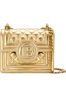 Balmain Bolsa Transversal Matelassê B-Bag 18 - Dourado