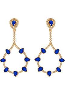 Brinco Gota Dourada Safira E Cristal - Feminino-Azul Claro