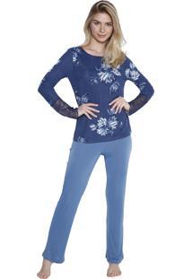 Pijama De Inverno Inspirate Azul Floral