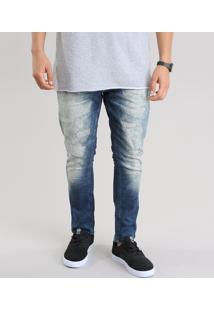 Calça Jeans Carrot Destroyed Com Algodão + Sustentável Azul Escuro