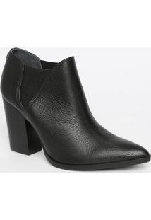 Ankle Boot Em Couro Texturizado- Preta- Salto: 9,5Cmjorge Bischoff
