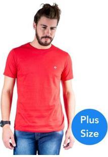 Camiseta Mister Fish Gola Careca Basic Plus Size Masculina - Masculino-Vermelho