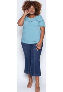 Blusa Almaria Plus Size Enois Fru Fru Liso Azul Azul