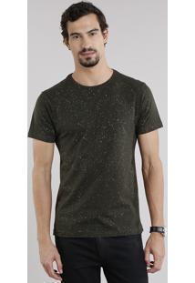 Camiseta Masculina Slim Fit Estampada De Respingos Manga Curta Gola Careca Verde Militar