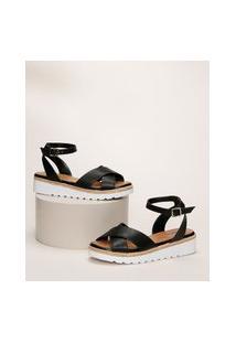Sandália Feminina Malu Super Comfort Flatform Com Tiras Cruzadas E Corda Preta