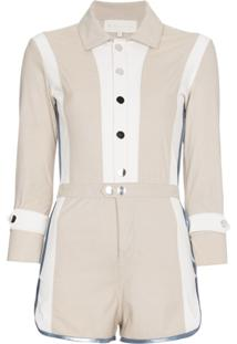 Skiim Grace Buttoned Leather And Suede Playsuit - Nude & Neutrals