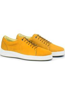 Tênis Sneaker Adolfo Turrion Couro Cano Baixo Masculino - Masculino-Amarelo