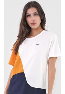 Camiseta Lacoste Recortes Azul-Marinho/Off-White