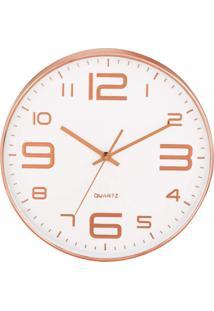 Relógio De Parede Rort Branco E Rosé Gold