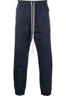 Rick Owens Cropped Drawstring Waist Trousers - Azul