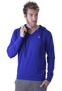 Blusa Liquido Moletinho Com Capuz Azul Marinho