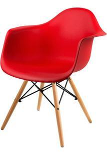 Cadeira Arm Com Braco Vermelho Fosco Base Madeira Clara - 51957 Sun House