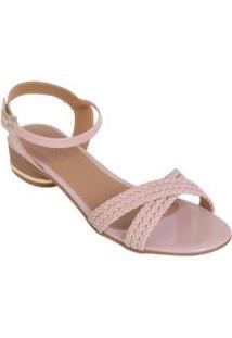 Sandália Salto Baixo Rose Com Fivela