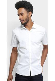 Camisa Manga Curta Ellus Tricoline Masculina - Masculino-Branco