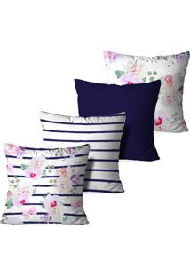 Kit 4 Capas Love Decor Para Almofadas Decorativas Orquidea Multicolorido Branco - Kanui