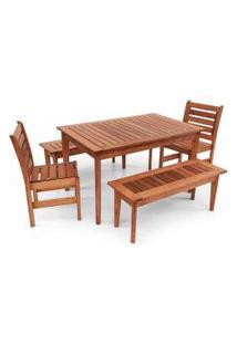 Conjunto Mesa De Jantar Em Madeira Maciça Retangular 6 Lugares Com Cadeiras E Bancos Sem Encosto Magazine Decor - Jatobá