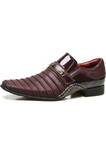 Sapato Social Artesanal Calvest Em Couro Com Textura Bordo