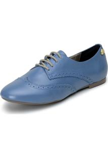 Oxford Cavalaria Casual Confort Line Azul Couro